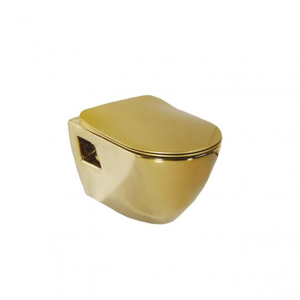 seina WC pott, kuldne, ilma istmeta