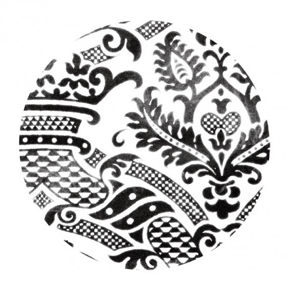 decorative ceramic plate Damask1 for drain plug, basins Cocktail, Flute, Hurricane