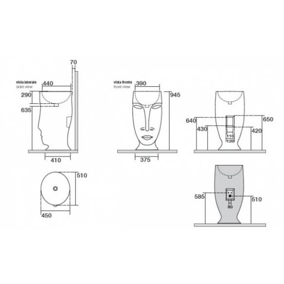 floor mount design basin Moloco, white