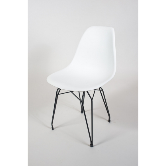 "chair Alexis, white, black metal ""Y"" feet"