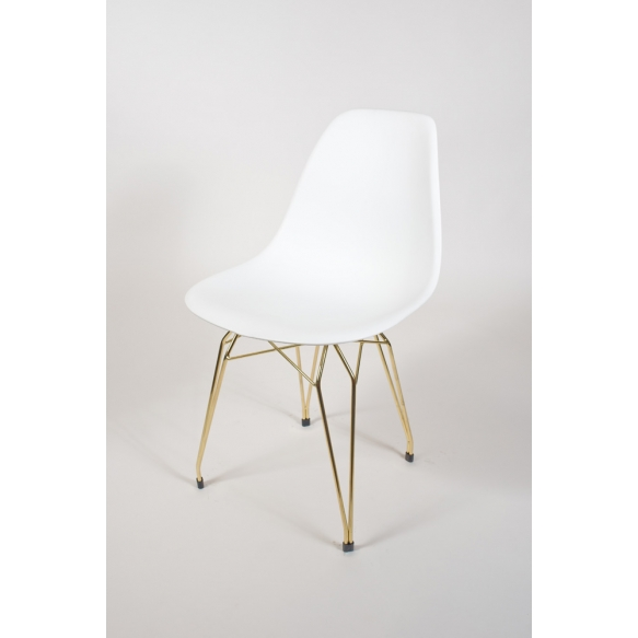 "chair Alexis, white, golden metal ""Y"" feet"