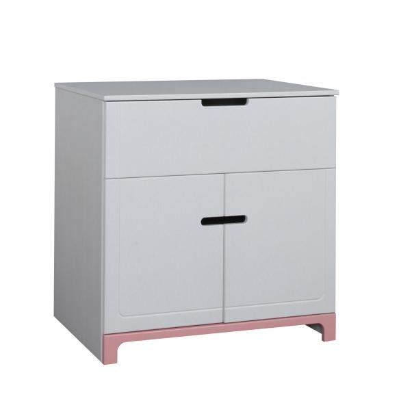 2 uksega kummut Mini, valge+roosa