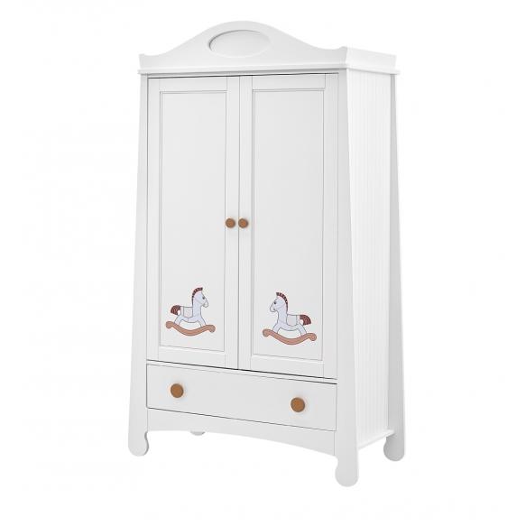 Parole - 2-door wardrobe + overprint, white+brown