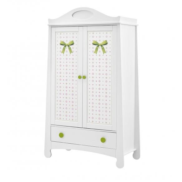 Parole - 2-door wardrobe + overprint, white+green