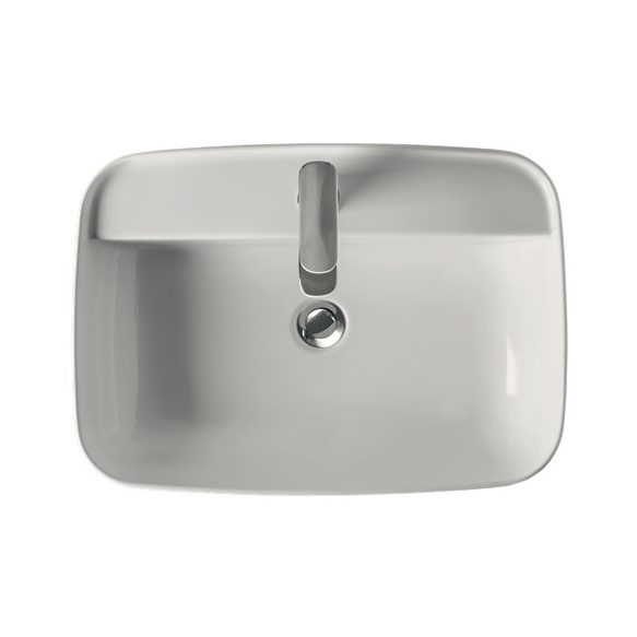 worktop mount basin Tribeca with faucet hole, 60x43 cm