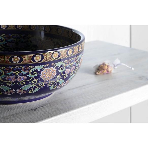 PRIORI ceramic basin purple w ornaments