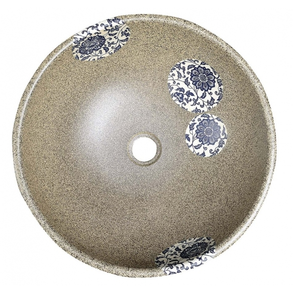 PRIORI ceramic basin, stone/blue pattern