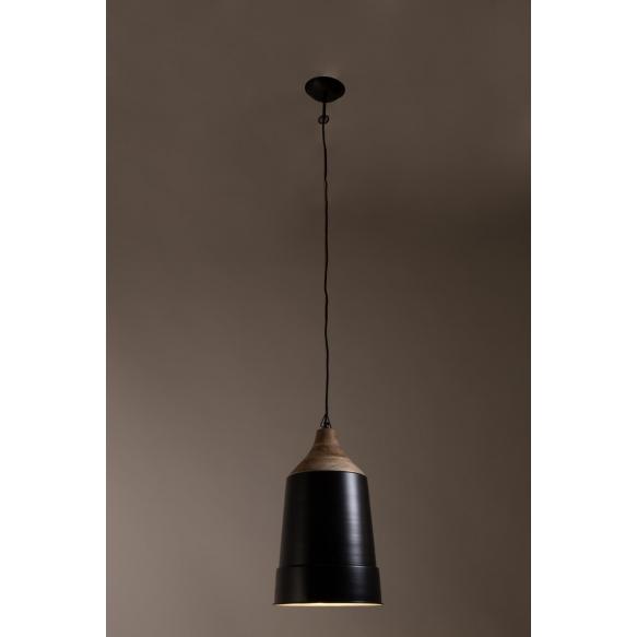 Pendant Lamp Wood Top Black