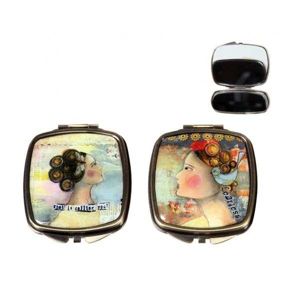 "3""L Metal & Glass Mirror Compact w/ Girl Image, 2 Styles ©"
