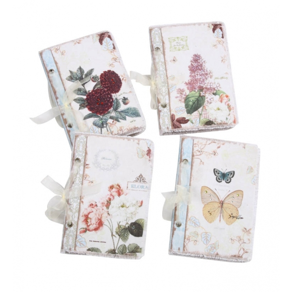 """8-1/4""""L Canvas Covered Journal w/ Floral Print & Crystals, 4 Styles ©"""