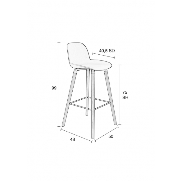 Barstool Albert Kuip Light Grey
