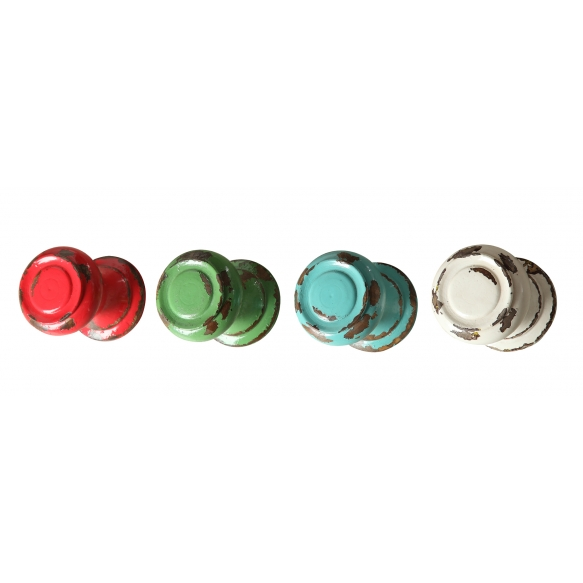 "3-3/4"" Round x 4-1/2""L Wood Wall Knob Hook, 4 Colors"