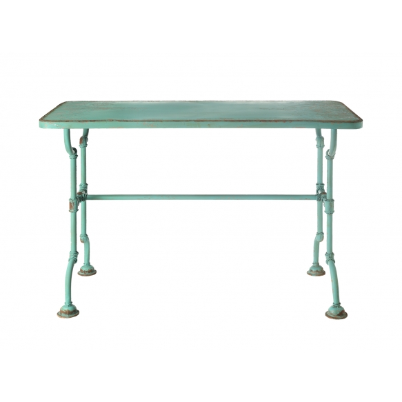 """52""""L x 23-3/4""""W x 34""""H Metal Table, Distressed Blue, KD"""