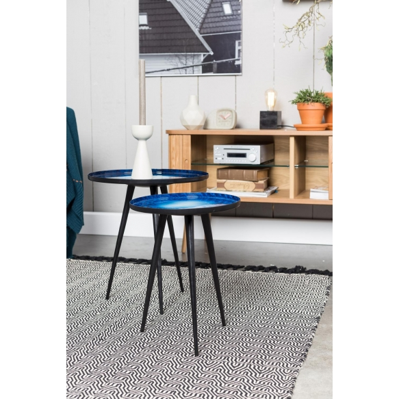 Side Table Flow Set Of 2 Blue. S - diam 31 h 40 cm; L diam 40 h 45 cm