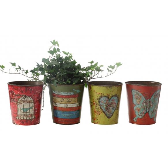 "6-1/2"" Round x 7-1/4""H Tin Planter, Holds 5"" Pot, 4 Styles ©"