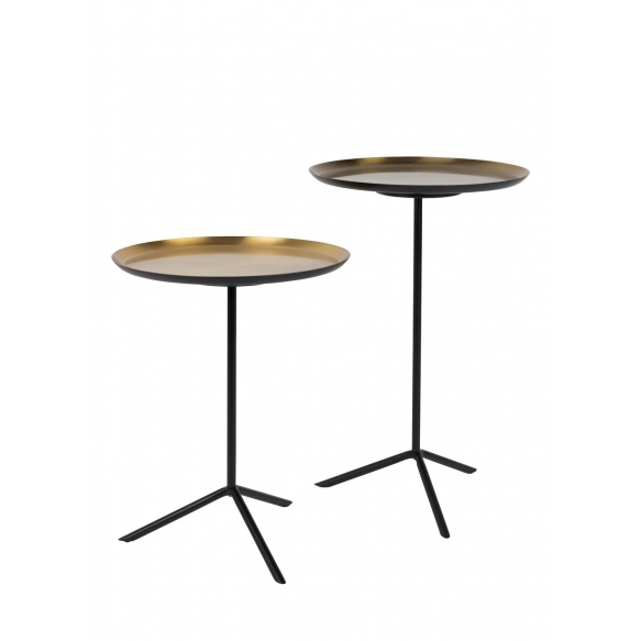 Side Table Trip Set Of 2 Brass. Height 40/50.5 cm