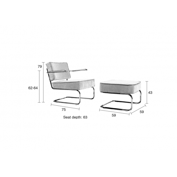 Lounge Chair Ridge Rib Grey