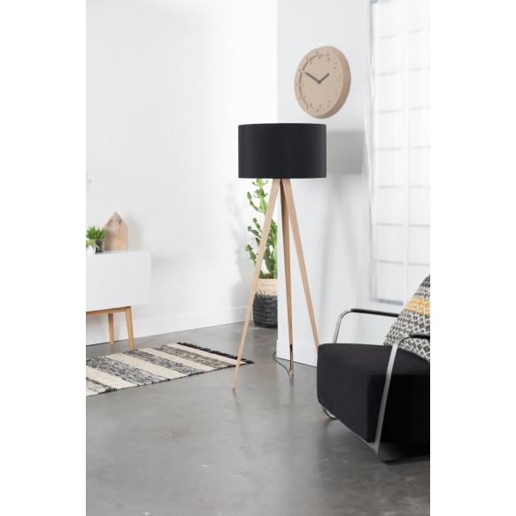 Floor Lamp Tripod Wood Black