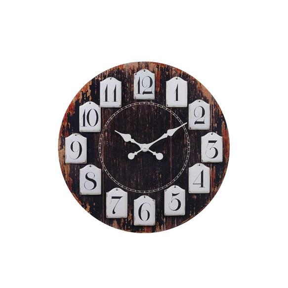 "28-3/4""Round MDF Clock w/ Hanging Metal Numbers"