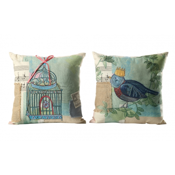 """17-3/4"""" Square Cotton Pillow w/ Embroidery & Ribbon, 2 Styles ©"""