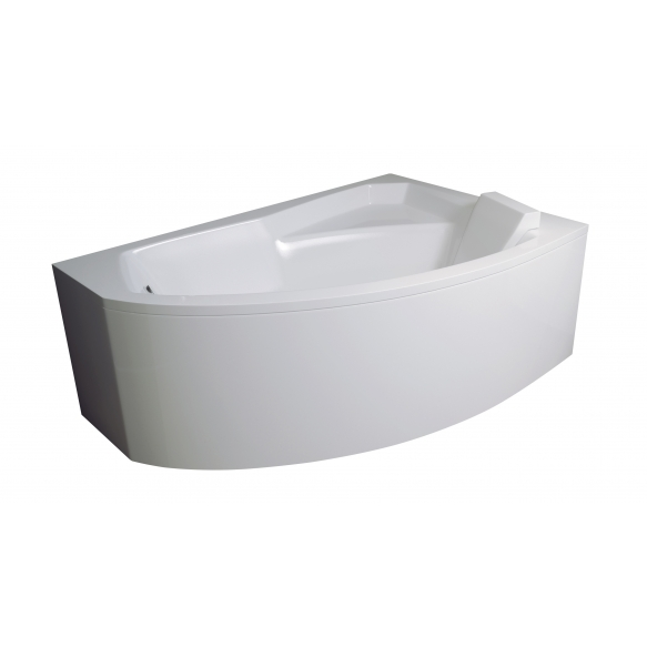 bath  140x90x59 cm, right corner, with front panel and feet, without siphon