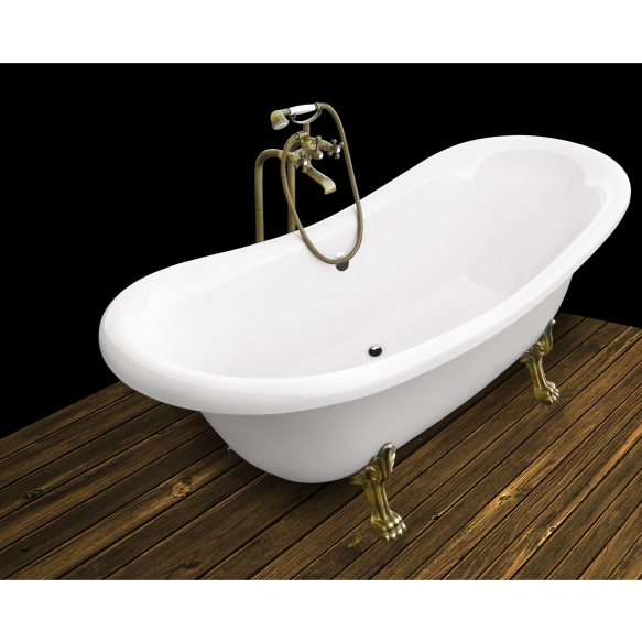 Amelie 190 cm,brass feet,white, w drain and overflow hole