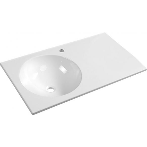 JUNO Cultured Marble Washbasin 80x15x46cm, white, left