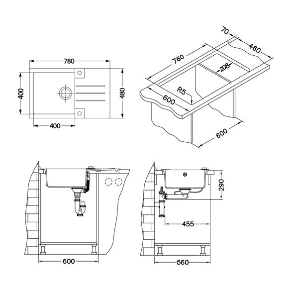 granite basin ROCK130-G81 78x48x18 cm, cement, automatic siphon