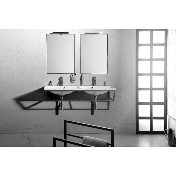 SKA construction under washbasin 1200 mm black mat, with white MDF Shelf