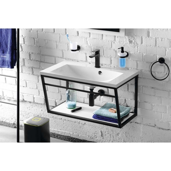 SKA construction under washbasin 600 mm white mat, with white MDF Shelf