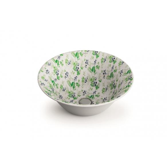 ceramic worktop basin New Nordic, pattern Amazona