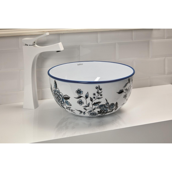 enamelled stainless steel worktop basin Mogro, pattern Toile de Jouy