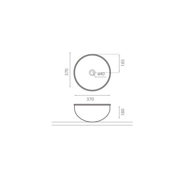 emailiga kaetud metallist valamu tööpinnale Mogro, hall ülaserv