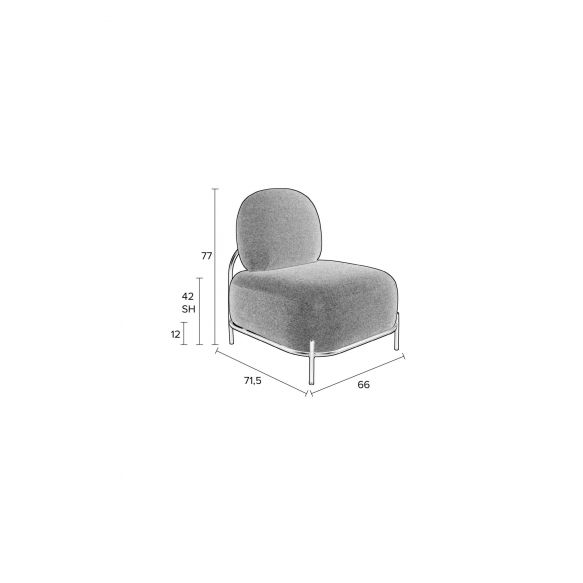 Lounge Chair Polly Grey