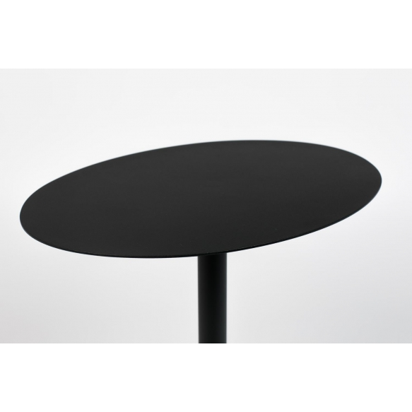 Side Table Snow Black Oval