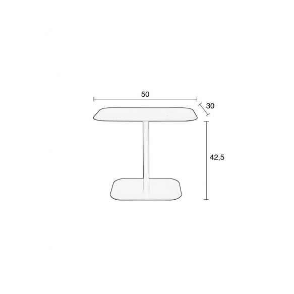 Side Table Snow Black Rectangle