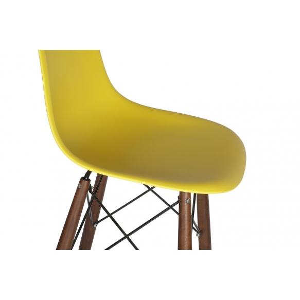 bar stool Alexis, yellow, dark brown feet