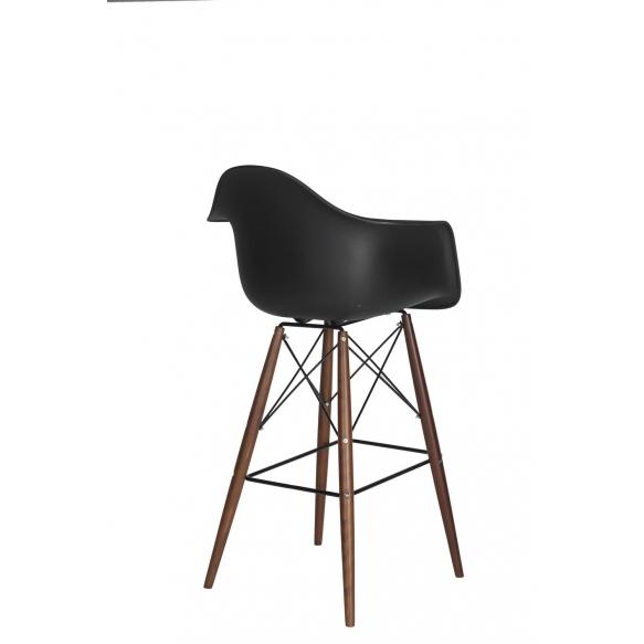 bar stool Beata, black, dark brown feet