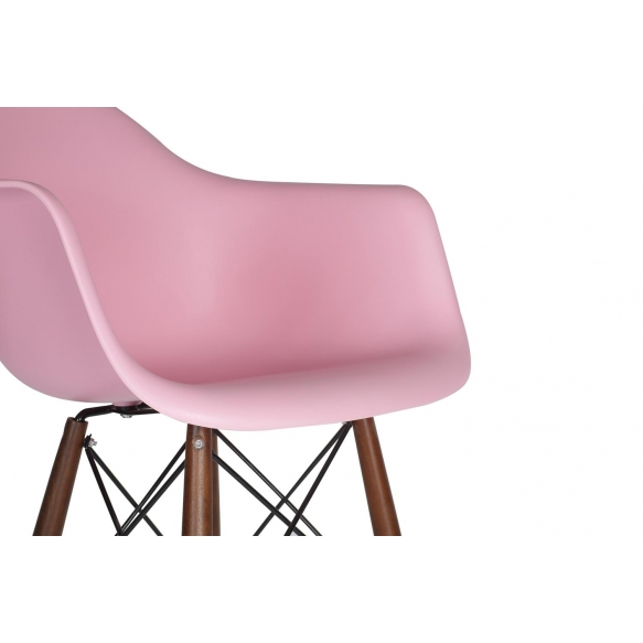 bar stool Beata, pink, dark brown feet