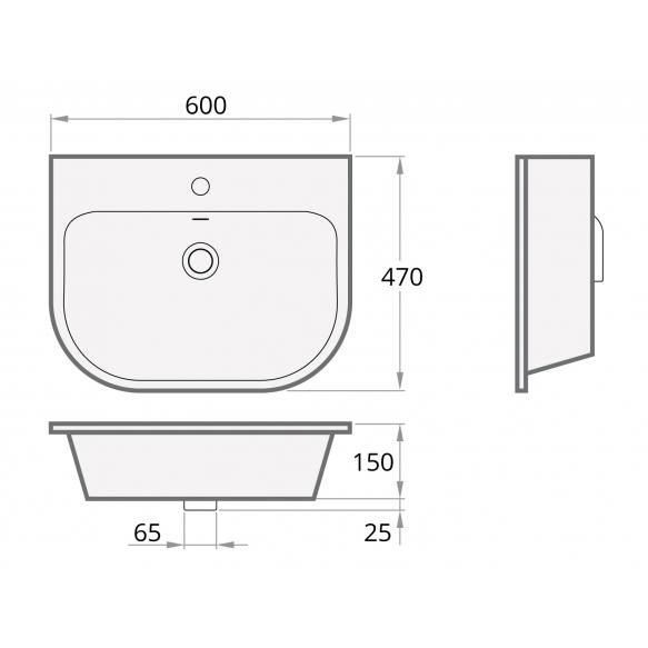 Cast stone basin VARIO
