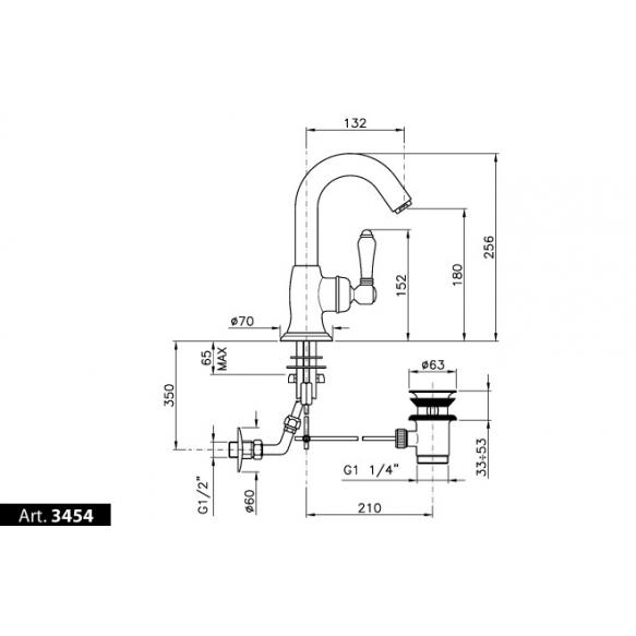 basin mixer with pop-up bright nickel, handle 75C