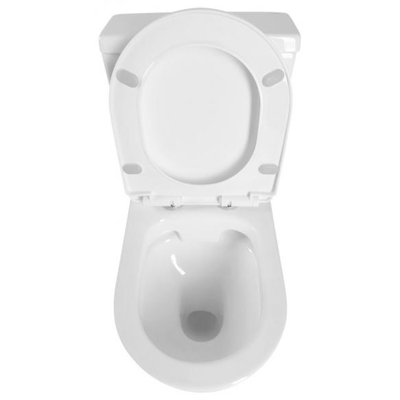 JALTA Rimless Close Coupled Toilet inc Flush Mechanism, S-trap/P-trap, dual flush, soft close seat included