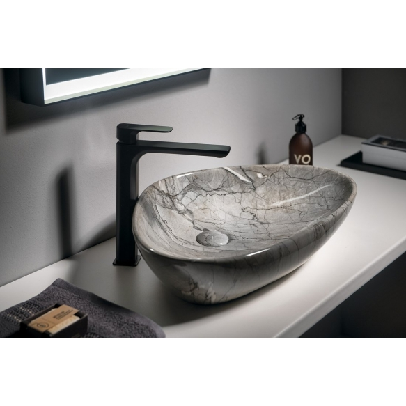 DALMA ceramic washbasin 58.5x39x14 cm cm, grey, click-clack not included