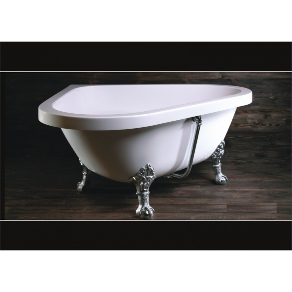 retro corner bath Camelie, 138x138x62 cm bronzed feet,white, w drain and overflow hole