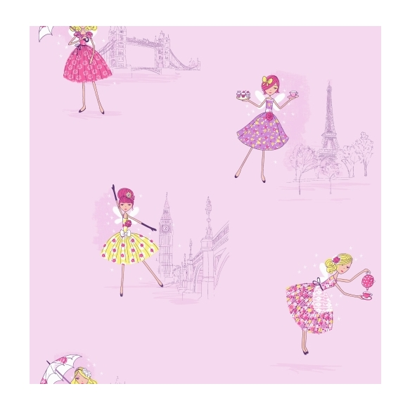 Hoopla Vintage Fairies SidewallLilac