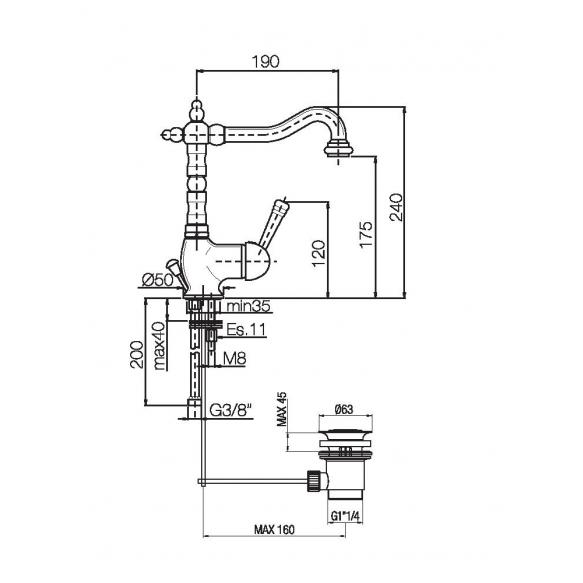 basin mixer with bidet spray New Old, natural brass
