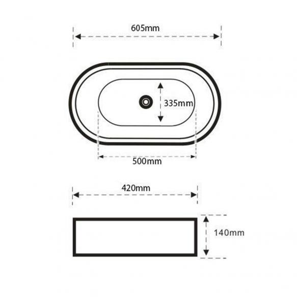 CALEO Counter Top Ceramic Washbasin dia 59x41.5x14 cm, black mat