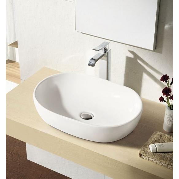 CALEO Counter Top Ceramic Washbasin dia 60.5x42x14 cm, white
