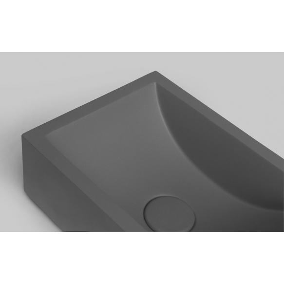 tsemendist valamu Crest R, 40x22x10 cm, antratsiit, komplekti kuulub põhjaklapp