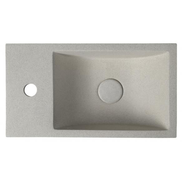betoonist valamu Crest L, 40x22x10 cm, white sandstone, komplekti kuulub põhjaklapp
